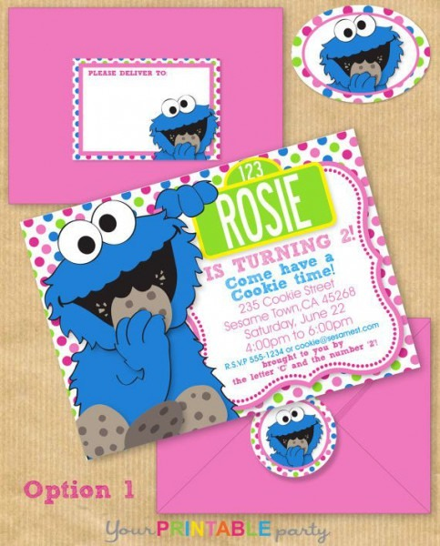 Girls Cookie Monster Party Invitation 5x7 By Yourprintableparty