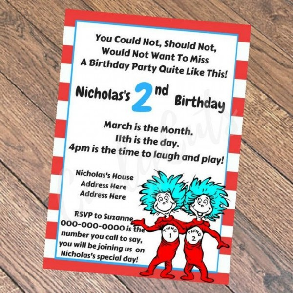 Dr Suess Thing One & Thing Two Birthday Invitation Pdf By