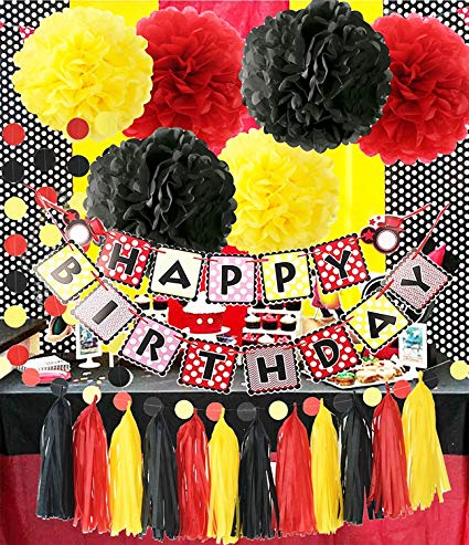 Amazon Com  Mickey Mouse Theme Birthday Party Supplies Yellow