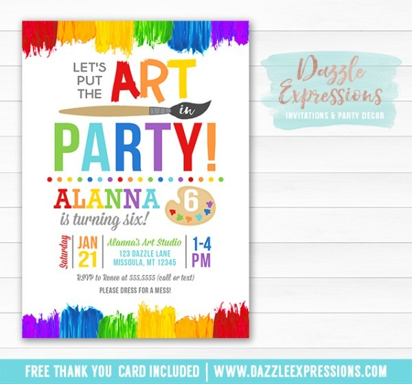 Painting Art Party Invitation 2