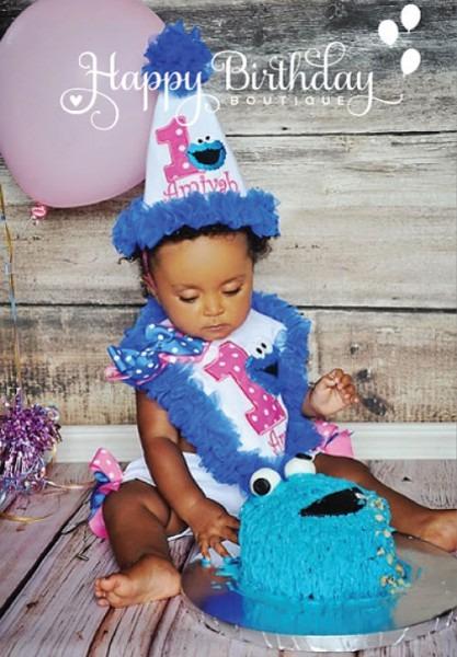 Girls Cookie Monster Cake Smash Quick Ship Set