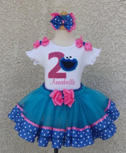 Cookie Monster Sesame Street Satin Ribbon Lace Quick Ship Tutu Set