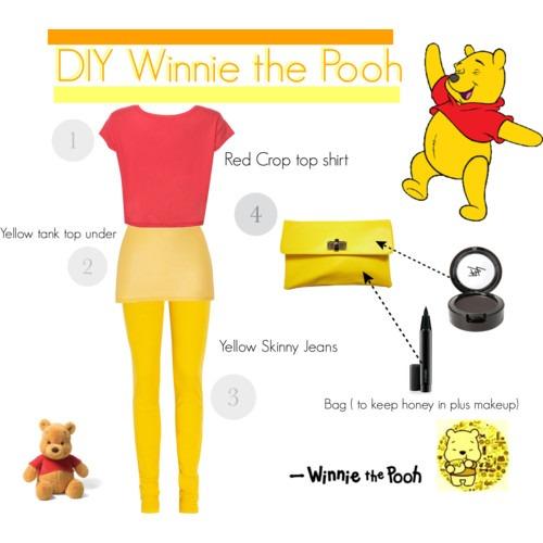 Diy Winnie The Pooh Costume Polyvore, Homemade Pooh Bear Costume