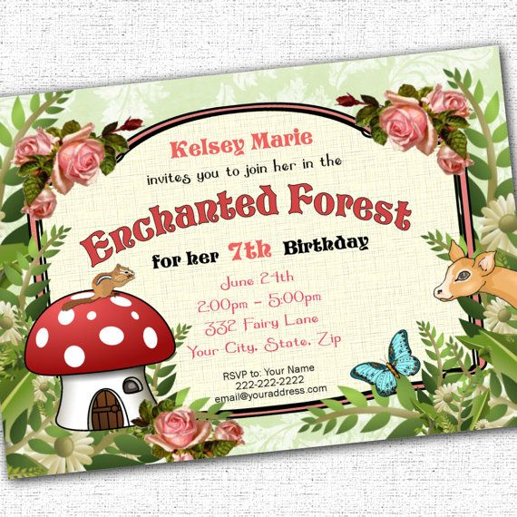 Enchanted Forest Woodland Party Printable Custom Invitation 5 X 7
