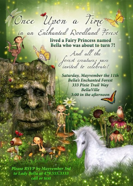 Fairy Forest Unicorn Birthday Party Invitation, Woodland Fairy