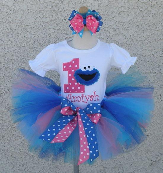 Girls Fuzzy Cookie Monster Pink And White Polkadot Quick Ship Tutu Set