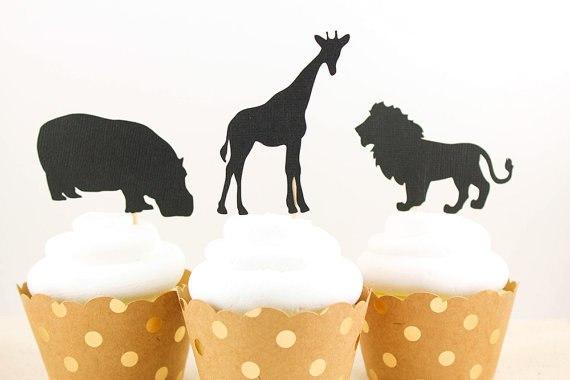 Glitter Safari Animals Cupcake Toppers Birthday Rustic Wedding
