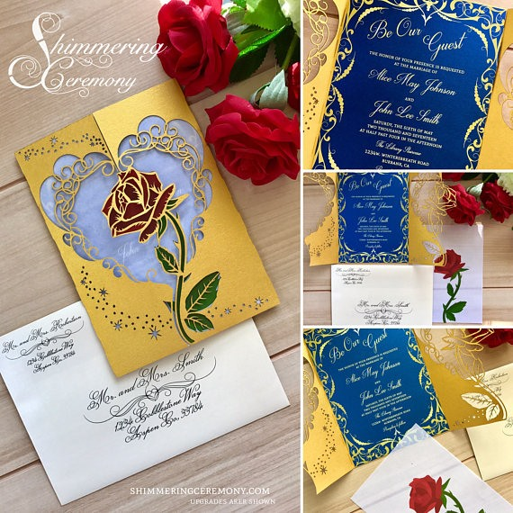 Top 5 Beauty And The Beast Wedding Invitations  Be Our Guest!