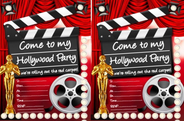 Movie Theme Party Invitation Templates Superb Hollywood Themed