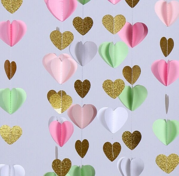 3 Meter White Mint Pink Glitter Gold 3d Paper Garland Baby Shower