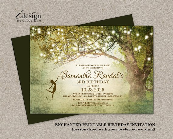 Birthday Invitations For Girls Printable Enchanted Forest