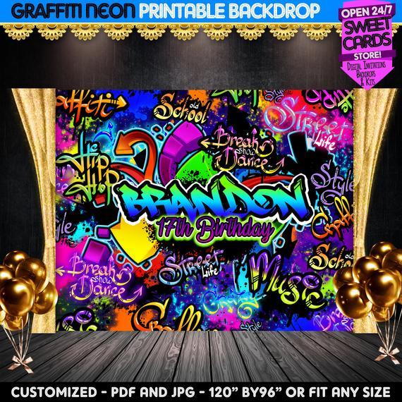 Neon Graffiti Printable Party Backdrop Graffiti Printable