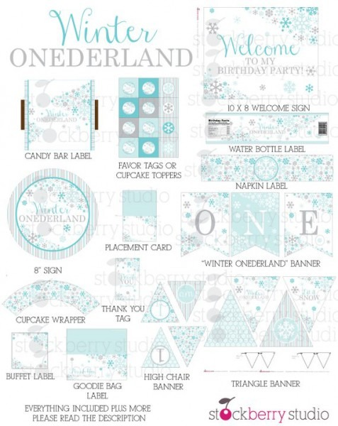 Boy Winter Onederland Birthday Party Decorations Printable