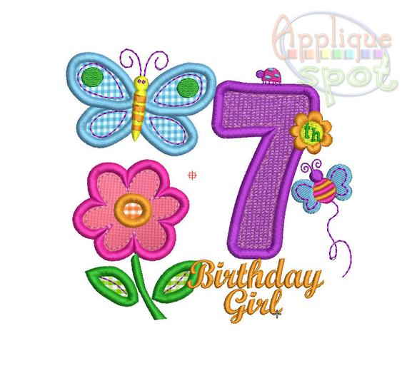 Hugs And Stitches Seventh 7th Birthday Girl Number 7 4x4 5x7