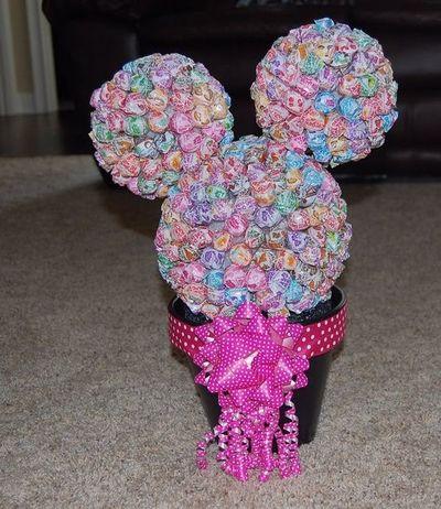 Diy Minnie Mouse Dum Dum Topiary  Diy  Minniemouse  Mickeymo