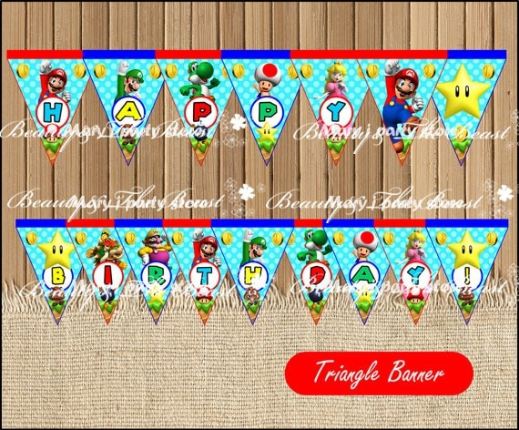 Mario Bros Banner Baby Shower Birthday Party Decorations Kids