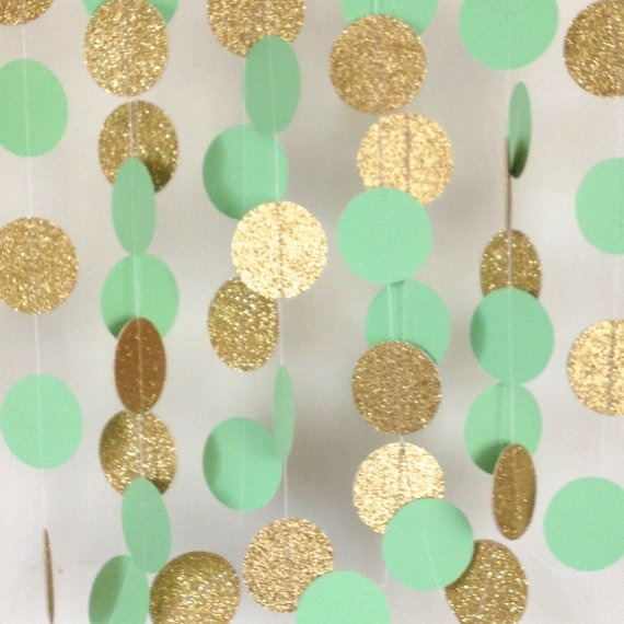 Mint Green And Gold Wedding Garland, Paper Garland, Bridal Shower