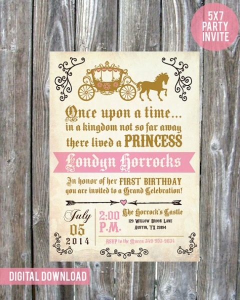 Once Upon A Time Princess Birthday Party Invite
