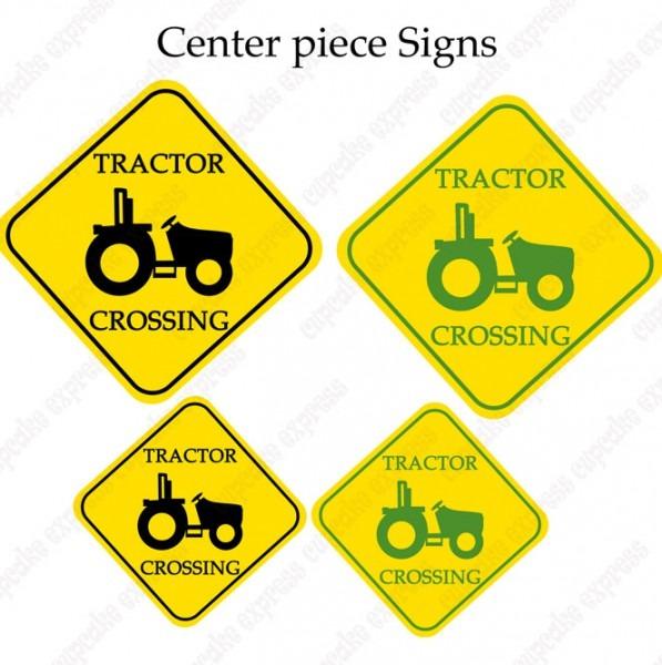 John Deere Inspired Printable Tractor Crossing Center Piece Signs