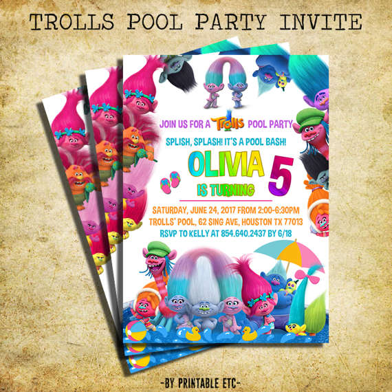 Trolls Birthday Party Invitation From Ildestudio Combined With