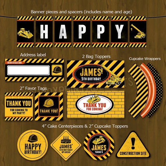 Construction Party Printable Birthday Party Decorations Diy