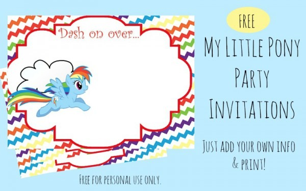 Free Printable Rainbow Dash Party Invitations