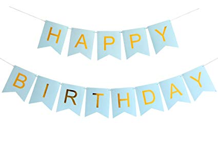 Amazon Com  Innoru Happy Birthday Banner Blue And Gold Letters