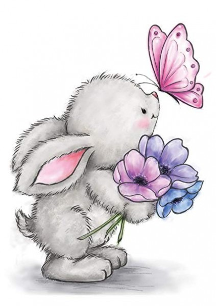 Wild Rose Studio Cl463 Bunny And Butterfly Stamp, 3 5  By 3