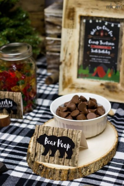 Camping Birthday, 8 Food Cards, Boys Birthday Decor, Lumberjack