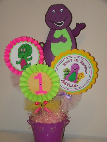 How Cute Is This Barney Centerpiece For A Girl's Birthday Party
