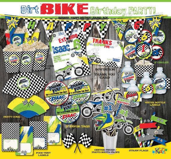 Printable Dirt Bike Birthday Package