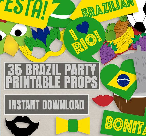 35 Brazil Party Theme Photo Booth Props, Brazilian Themed Party