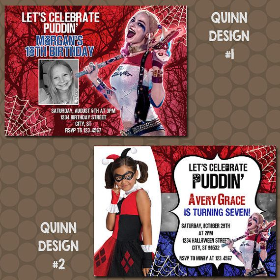 Amazing Free Printable Harley Quinn Birthday Invitations