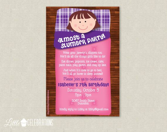 Printable Almost A Slumber Party For Girls By Littlecelebrations