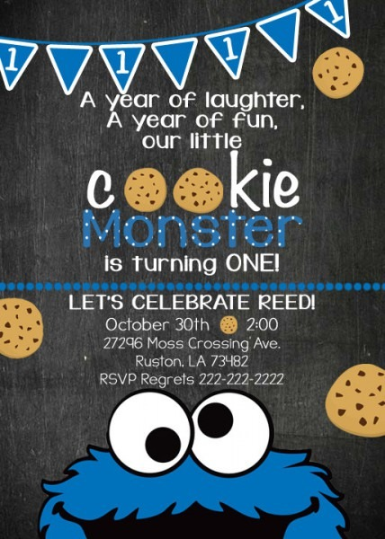 Cookie Monster Birthday Invite, Cookie Monster Invitation, Cookie