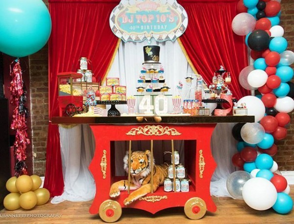 Carnival Circus Theme 40th Birthday! Tiger Cage Table By