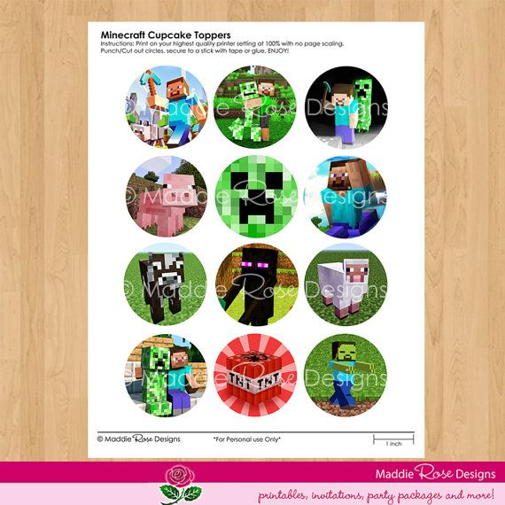 photograph regarding Printable Minecraft Cupcake Toppers identified as Printable Minecraft Cupcake Toppers