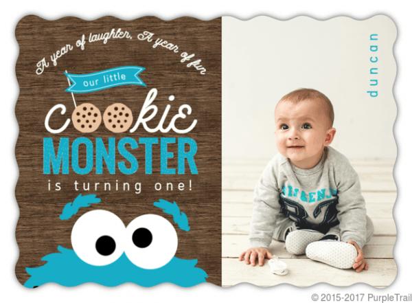 Cookie Monster Photo First Birthday Invitation