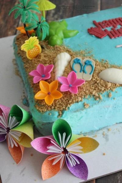 Triple Pineapple Luau Cake, A Luau Themed Decorated Cake Made With