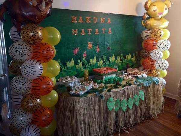 The Lion King's First Birthday Party Candy Table Idea