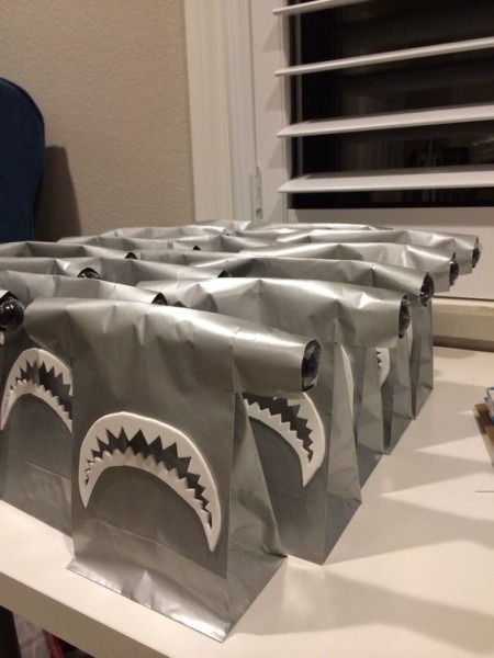 I Love These Shark Goodie Bags For A Shark Themed Party!