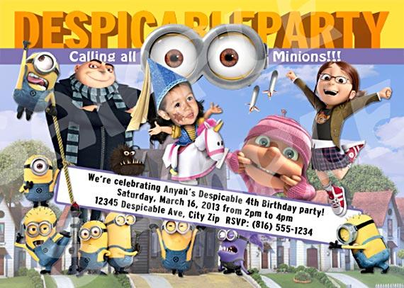 Diy Despicable Me Birthday Party Invitation