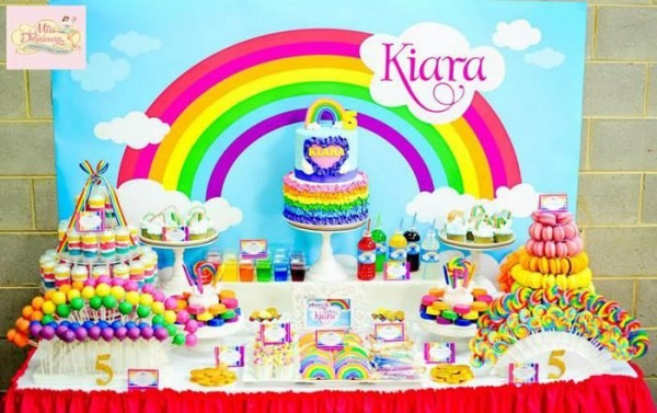 Girly Rainbow Birthday Party Planning Ideas Supplies Idea Cake