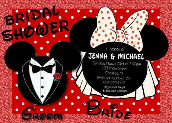 Mickey & Minnie Mouse Bridal Shower Invitations By Fabpartyprints