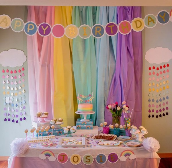 Rainbow Themed Dessert Table From A Rainbow Birthday Party  Easy