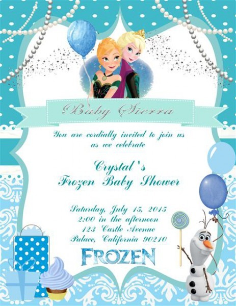 Frozen Themed Baby Shower Invitations