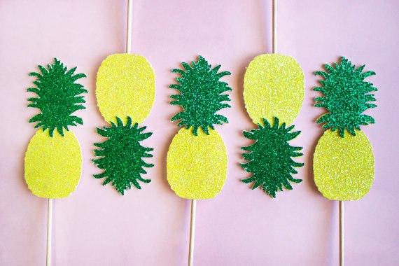 Glitter Pineapple Fiesta Luau Tropical Cupcake Toppers Hen Night
