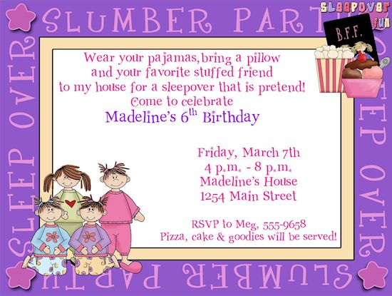 Great Almost Sleepover Party Invitations