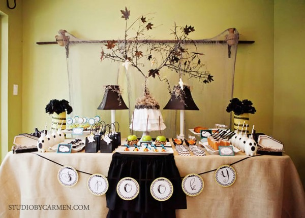 Kara's Party Ideas Elegant Halloween Party Dessert Table