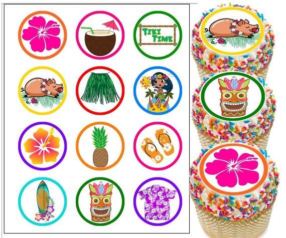 Hawaiian Luau Edible Cupcake Toppers Edible Luau Cake